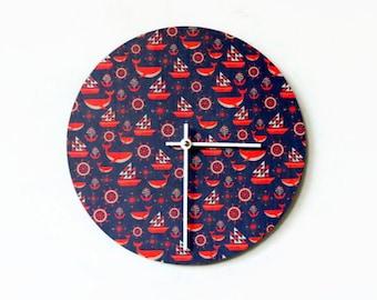 Nautical Wall Clock, Eco Home Decor, Orange Decor, Home Decor, Home and Living