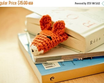 CHRISTMAS SALE FOX crochet bookmark, Wool Crochet Autumn Fall Winter Cold Days, Cozy, Ginger Red by Warm Yourself,