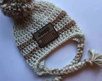 Infant Jeep hat Jeep Cap with Earflaps Baby Handmade Jeep beanie