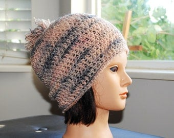SALE 20% off- Handspun single corriedale 'undecided now'  peach and gray crochet adult hat