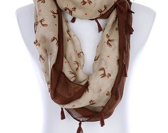 Infinity Puppy Dog Poodle Animal Print Sheer Fashion Accessory Scarf Brown