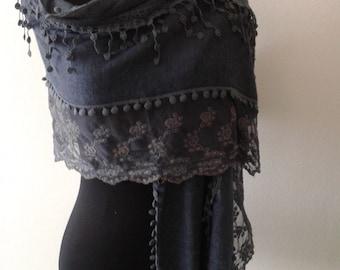 Blue lace shawl ,Dark blue scarf,
