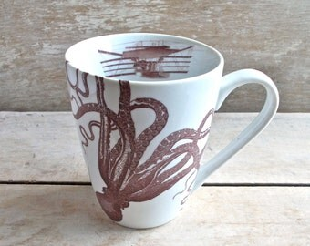 Steampunk Octopus Mug, DISCOUNTED SECOND, Tentacles,  Cephalopods Coffee Cup, 14 oz  Porcelain Mug, Airship, Steamship,  Ready to Ship