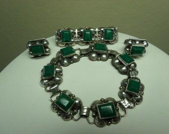 Vintage Mexican Silver Bracelet Brooch Earring Set Green Quartz Signed Deco Mid Century Parure
