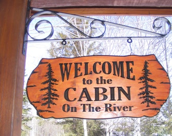 Cabin Name Sign Family Name Address Sign  22 x 9 Northern Cedar Carved Wood Sign Red Cedar finish