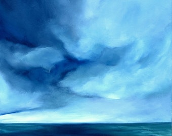 Oil painting on canvas, original painting, seascape painting, home decor, storm clouds, blue water- Poseido's tempest