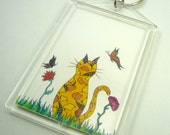 Art key chain, cat art, photo keychain, outdoor cat key chain, yellow cat