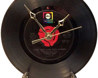 """Recycled STEELY DAN 7"""" Record / Rikki Don't Lose That Number / Record Clock"""