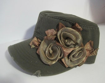 Olive Green Cadet Military Distressed Army Hat with Matching Ribbon Roses Accessories Hats Caps Headwear