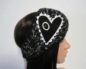 Black and White Multi Knit Ear Warmer Head Wrap Headband with a Black and White Felt Heart and a Black Rhinestone Accent