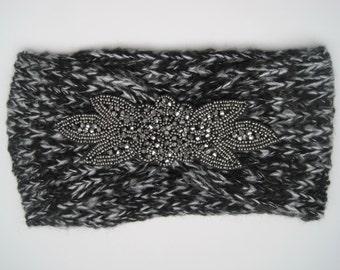 Black Variegated Knit Ear Warmer Headband Head Wrap with Beautiful Beaded Appliqué Winter Hats Winter Accessories Headbands