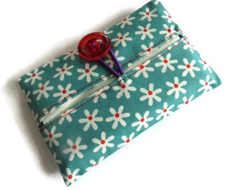 Paper Hankerchief Holder - Cotton Fabric Cover for Paper Tissues -Kleenex Cover Case