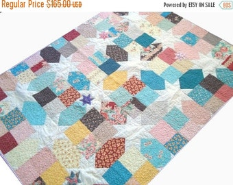 CHRISTMAS In JULY SALE Traditional Star Quilt - Lap Quilt - Moda Fabrics