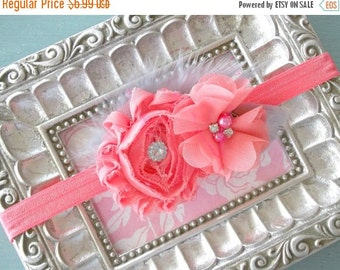 CHRISTMAS In JULY SALE Coral Rhinestone Flower Baby Headband= Baby Feather Headband - Baby Photo Prop - Toddler Headband