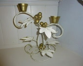 Pretty Tole Ware Candlestick, French Shabby Chic.
