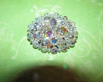 Vintage Aurora Borealis Clear Crystal Rhinestone Beaded Brooch Pin