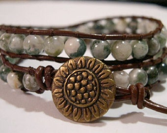 Wrap bracelet, Beaded wrap bracelet,  Boho bracelet, Leather wrap, Bohemian bracelet, Gypsy wrap bracelet, Beaded bracelet - 815