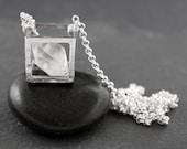 Flash Sale - RAW HERKIMER DIAMOND - Floating Cube Pendant - Natural Geode