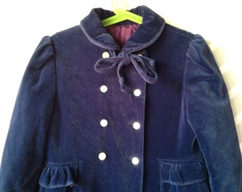 vintage navy velour princess winter coat by ellerie fashions size 5-6 years