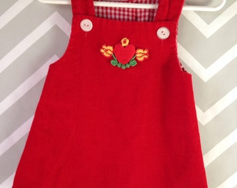 vintage red corduroy + gingham dress for baby with heart + flower appliqué size 3 6 months by something pretty