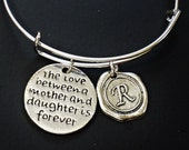 The Love Between Mother And daughter  Is Forever Expandable wire bangle charms bracelet with your  INITIAL LETTER /br2