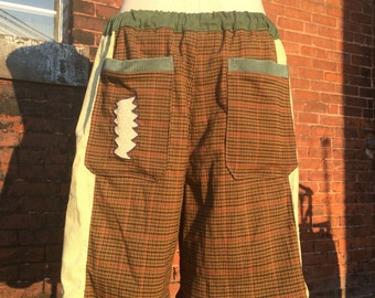 handmade patchwork mens pants S O L D Dude Shorts brown plaid cream swirls hippie patchwork READY TO SHIP six pocket 30 32 34 36 38 40