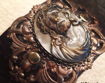 Jesus Cameo Leather Cuff Bracelet