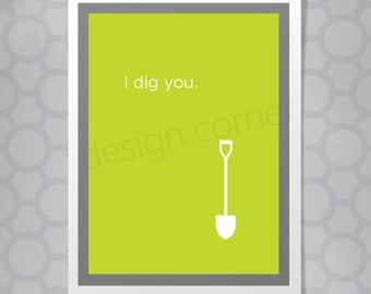 Funny Illustrated I dig you Valentine's Day Card