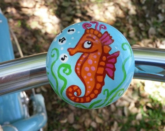 seahorse bicycle bell hand painted bicycle accessories bike art unique bicycle gift cycling tropical beach cruiser art sea creature whistle