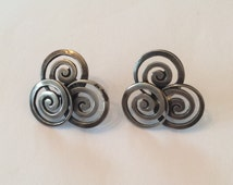 Taxco Los Castillo Earrings, Sterling Silver, Mexico 1940s Vintage Jewelry, SUMMER SALE
