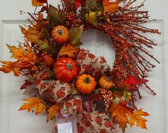 Fall, Fall Wreath, Autumn Wreath,Fall GrapevineWreath, Fall Door/Wall Decor, Thanksgiving,Thanksgiving Door/Wall Decor,