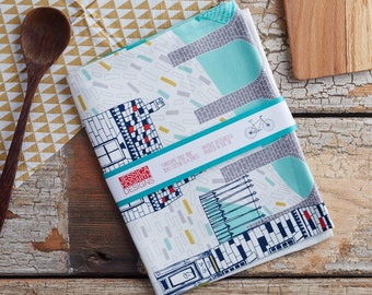 Yorkshire Bike Ride Tea Towel, design led kitchen textiles. 100% cotton tea towel. Designed by Jessica Hogarth and printed in the UK
