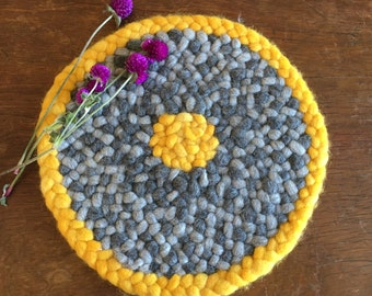 Pure Wool Hand Braided Mat in Yellow and Grey, Small Round Chair Pad