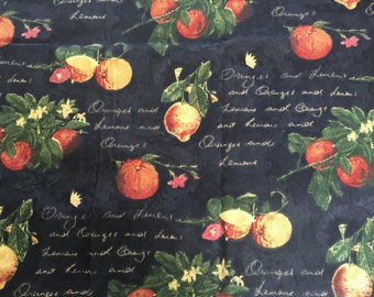 Waverly Village Citrus Grove Fabric  Black With Yellow, Orange and Green