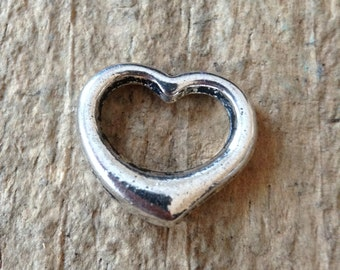 20pc Heart Charms, Floating Heart, Silver Heart, Silver Plated, Antique Heart, Jewelry DIY, Jewelry Making, Craft Supplies, Jewelry Supplies