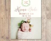 Botanical Wreath Birth Announcement Card Custom Photo Card 5x7 Professionally printed cards or Printable