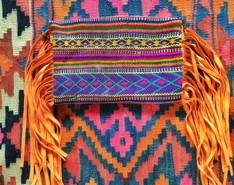 Moroccan Leather tribal Fringe Salmon Boho Clutch Peach Purse
