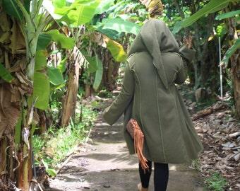 Ladies Medium Large Long Green Cozy Fleece Boho Pixie Hoodie Coat Jacket