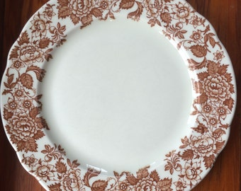 Dinner Plate, Brown Floral Transferware, Jessica Pattern by Jackson China ca. 1960