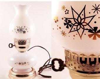 Vintage Hurricane Lamp Mid Century White Glass Gold Atomic Starburst 1960s