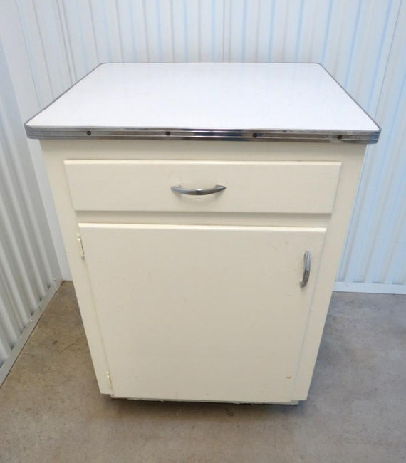 Formica Kitchen Cabinet: Vintage Retro White Formica Top Mid Century Modern Kitchen