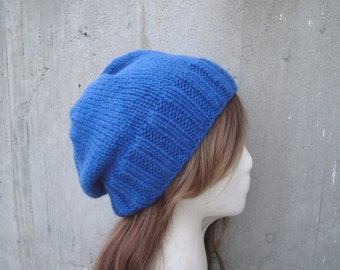 Chunky Slouch Hat for Women, Blue, Knitted, Merino Wool, Toque Cap, Beanie