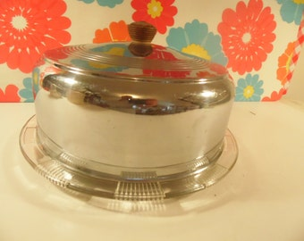 Metal Cake Cover Glass Plate Vintage 1950s