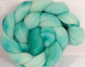 Hand dyed British Southdown/ tussah top ( 65/ 35) - Robin's Egg - 4.6 oz.