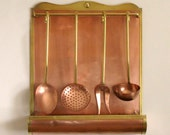 RESERVED FOR EYAL  French Copper Utensil Rack with Four Copper Utensils, copper ladle, copper fork, copper spoon, copper strimmer (4332)