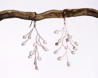 631_Pink gold pearls earrings, Wedding earrings, Pearl bridal earrings, Wedding jewelry, Blush pink bridal earrings, pearls jewelry Earrings