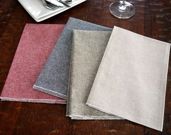 Cloth Napkins - Linen Cotton Chambray Cloth Dinner Napkins, Green, Blue, Red or Flax, Christmas Napkins, SET of FOUR