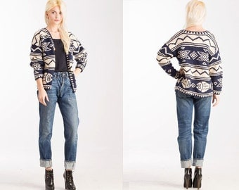 Vintage Print 90s Cardigan Aztec Southwestern White Blue Knit Cropped Sweater Jacket //