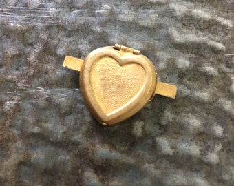 Vintage Heart Locket Charm - old brass locket - New Old stock- old brass jewelry piece