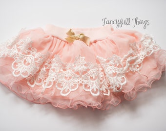 Girls pink lace tulle skirt